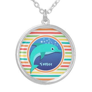 Dolphin Bright Rainbow Stripes Custom Necklace