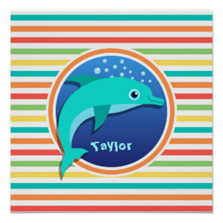Dolphin Bright Rainbow Stripes Posters