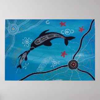 Dolphin Calf Poster by Mundara