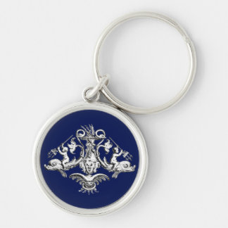 Dolphin, Cherub and Gargoyle Nautical Emblem Silver-Colored Round Key Ring