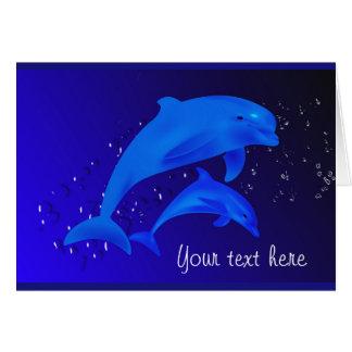 Dolphin Cobalt Blue Ocean Sea Custom Note Card