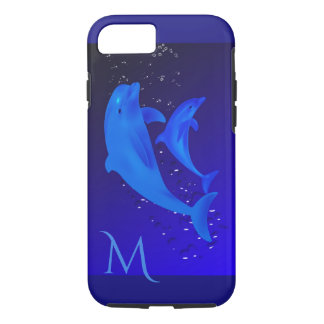 Dolphin Cobalt Blue Ocean Sea Monogram iPhone 7 iPhone 7 Case