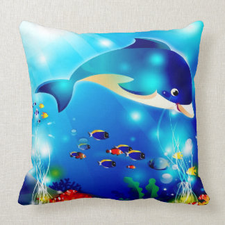 Dolphin & Colorful Sea-Life Digital Illustration Throw Cushion
