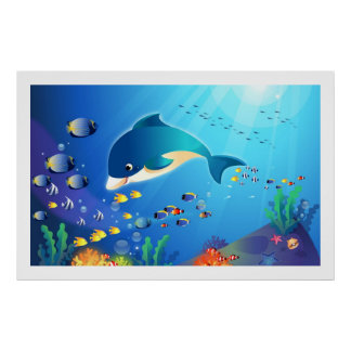Dolphin & Colorful Sea-Life Digital Illustration Poster