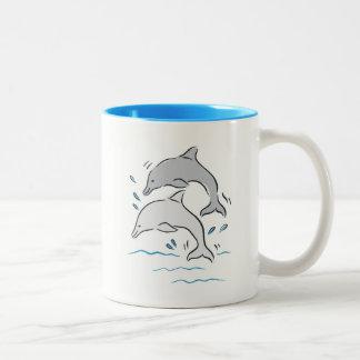 Dolphin Dolphins Cute Cartoon Animals. Two-Tone Coffee Mug