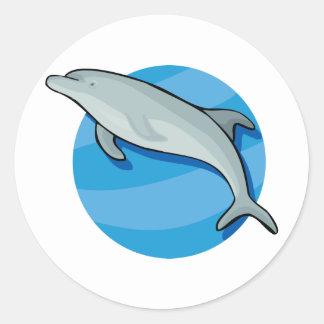 Dolphin Dolphins Marine Mammals Blue Ocean Animal Round Sticker