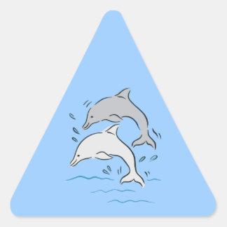 Dolphin Dolphins Marine Mammals Ocean Triangle Sticker