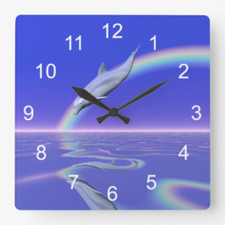 Dolphin Download Square Wall Clock