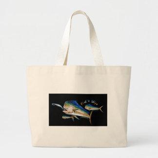 dolphin fish and  ships tote bag