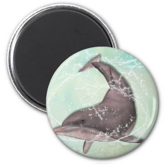 Dolphin Greeting 6 Cm Round Magnet