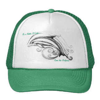 Dolphin Hat in Green & White