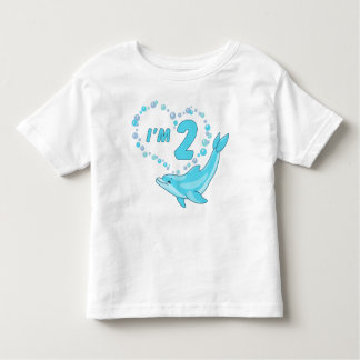 Dolphin Heart 2nd Birthday Toddler T-Shirt