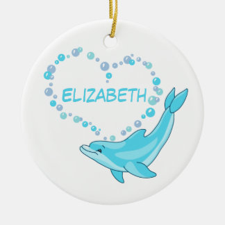 Dolphin Heart Personalised Ceramic Ornament