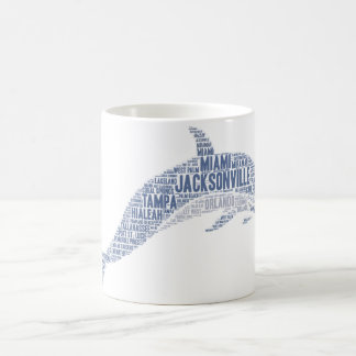 Dolphin illustrated with cities of Florida State Coffee Mug