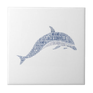 Dolphin illustrated with cities of Florida State Tile