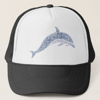 Dolphin illustrated with cities of Florida State Trucker Hat