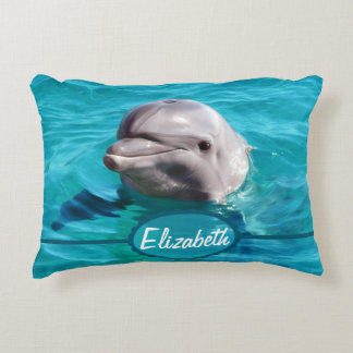 Dolphin in Blue Water Photo Decorative Cushion