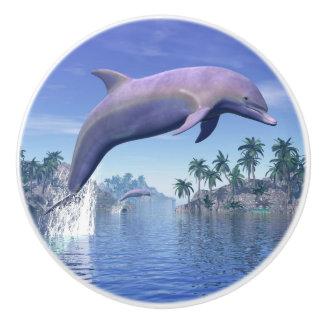 Dolphin in the tropics - 3D render Ceramic Knob