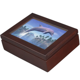 Dolphin in the tropics - 3D render Keepsake Box