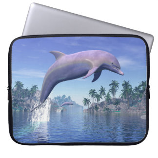 Dolphin in the tropics - 3D render Laptop Sleeve