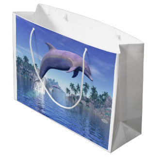 Dolphin in the tropics - 3D render Large Gift Bag