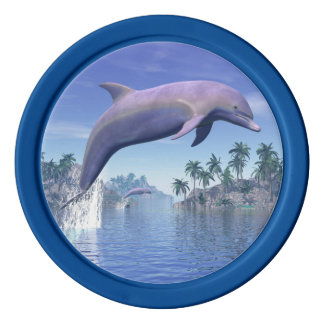 Dolphin in the tropics - 3D render Poker Chips