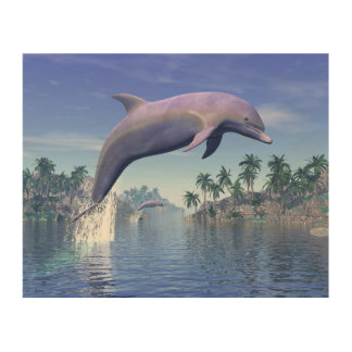 Dolphin in the tropics - 3D render Wood Wall Art