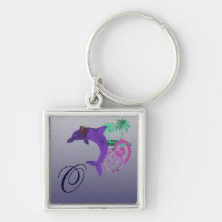 Dolphin Island Blue, Purple, Fushia, and Aquamarin Key Ring