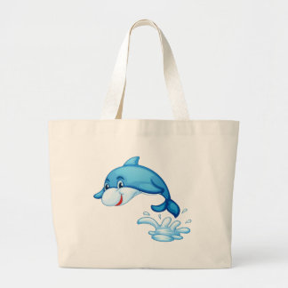 Dolphin isolated on white jumbo tote bag