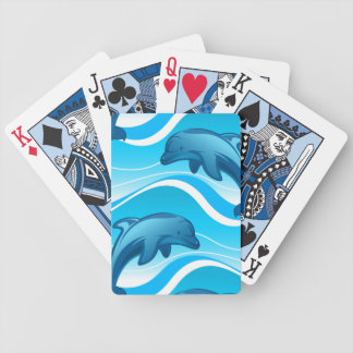 Dolphin jumping waves bicycle playing cards