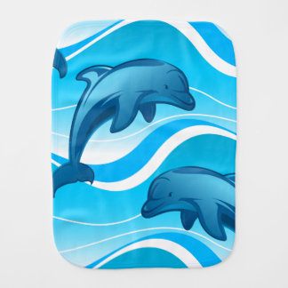 Dolphin jumping waves burp cloth