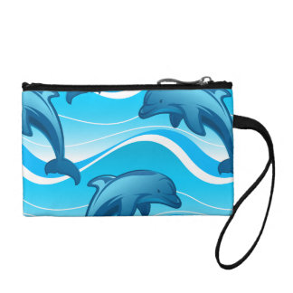 Dolphin jumping waves coin purse