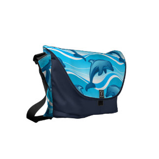 Dolphin jumping waves commuter bag