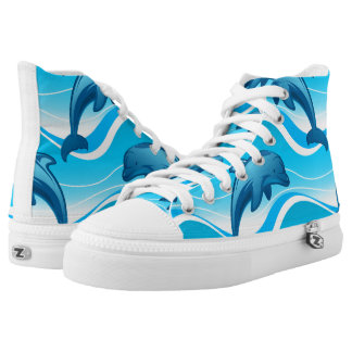 Dolphin jumping waves printed shoes