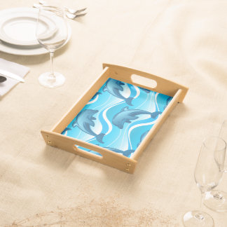 Dolphin jumping waves serving tray