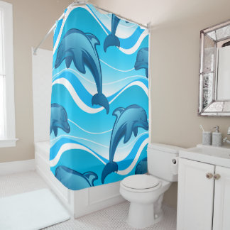 Dolphin jumping waves shower curtain