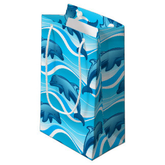 Dolphin jumping waves small gift bag