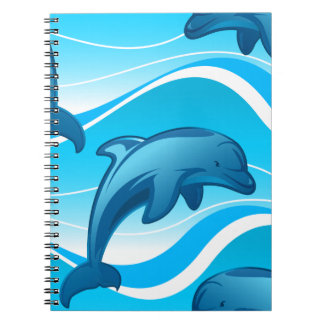 Dolphin jumping waves spiral notebook