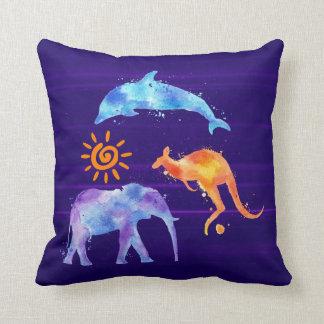 Dolphin Kangaroo and Elephant Watercolor Cushion