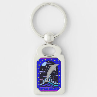 Dolphin `Leap for the stars' Metal Keychain