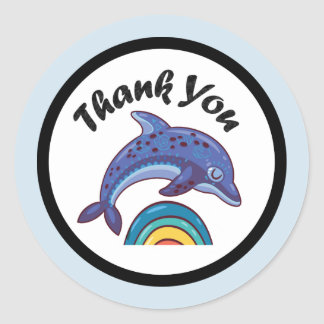Dolphin Leaping Over A Rainbow Thank You Classic Round Sticker