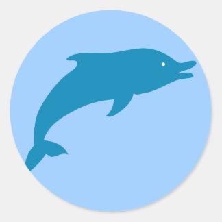 Dolphin Marine Mammals Fish Ocean Blue Animal Round Sticker