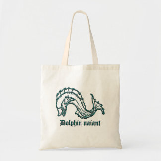 Dolphin medieval heraldry tote bag