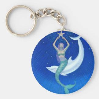 Dolphin Moon Mermaid Basic Round Button Key Ring