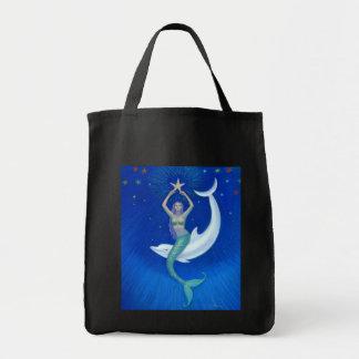 Dolphin Moon Mermaid Grocery Tote Bag