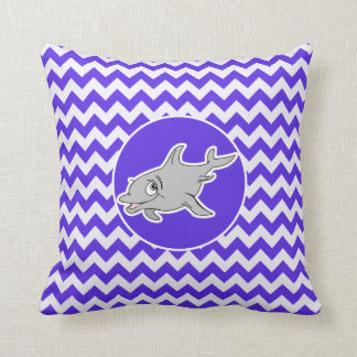 Dolphin on Blue Violet Chevron Throw Cushion