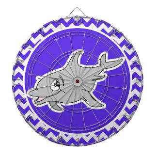 Dolphin on Blue Violet Chevron Dartboard With Darts