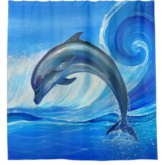 Dolphin Painting Shower Curtain