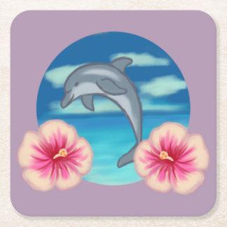 Dolphin Paradise Square Paper Coaster