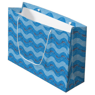 Dolphin Patterned Large Gift Bag